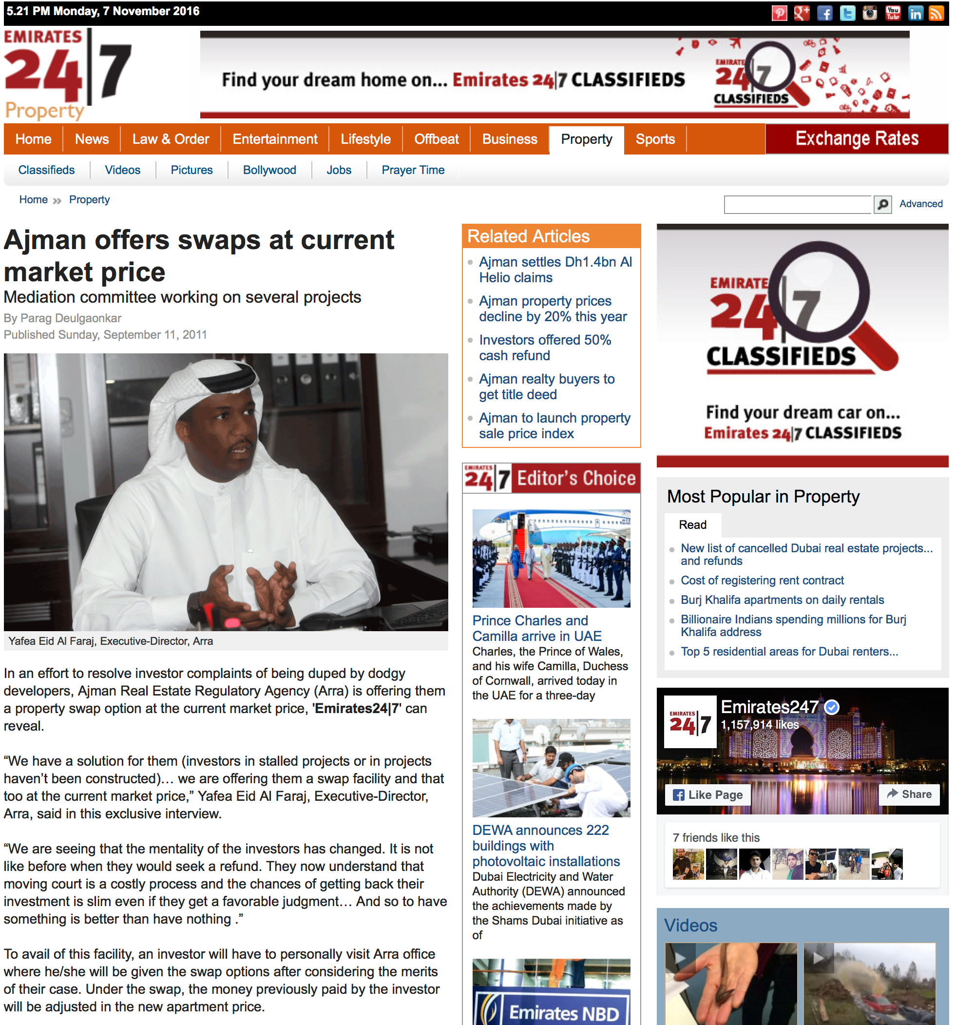 Ajman offers swaps at current market price - http://freehold